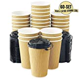 Kitchen & Housewares : Aplusplanet 16 OZ Triple Walled Disposable Coffee Cups with Lids 60 Set, No Sleeves Needed, Ripple Insulated To Go Coffee Cups and Multipurpose Lids for Hot Cocoa. Eco-Friendly Reusable Paper Cups