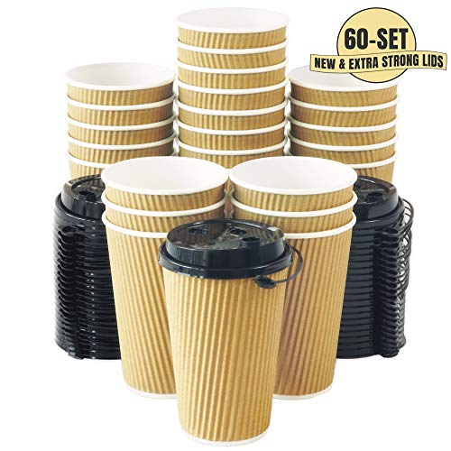 Aplusplanet 16 OZ Triple Walled Disposable Coffee Cups with Lids 60 Set, No Sleeves Needed, Ripple Insulated To Go Coffee Cups and Multipurpose Lids for Hot Cocoa. Eco-Friendly Reusable Paper Cups