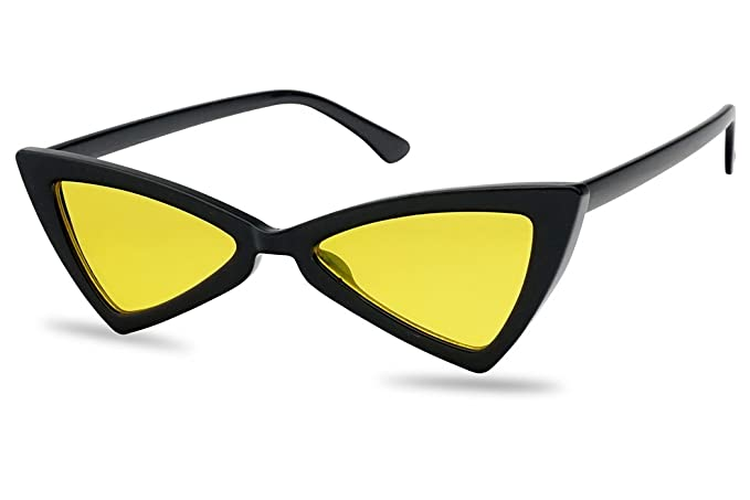 afd89401b14 Amazon.com  Small Butterfly Cat Eye Pointed Triangle Transparent Colored Sunglasses  for Women