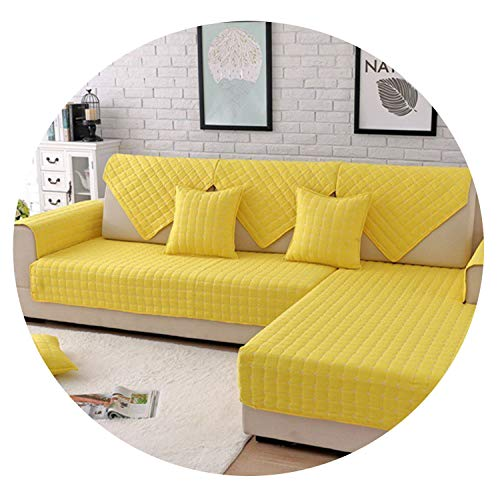 Blue Yellow Plaid Quilted Brushed sectional Sofa Cover slipcover Furniture Couch Cover Sofa Protector Sofa fundas,Yellow per pic,90cm90cm 1piece