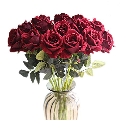 cn-Knight Artificial Flower 12pcs 22'' Long Stem Silk Velvet Rose Real Touch Faux Flower for Wedding Bridal Bouquet Bridesmaid Home Decor Office Hotel Baby Shower Party Prom Centerpiece(Dark Red)