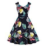 Wellwits Women's Tropical Palm Ruched Front V Neck Vintage Fits Flare Dress XL