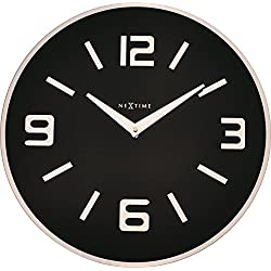 Unek Goods NeXtime Shuwan Wall Clock, Battery Operated, Round Glass, 16.93'' L, Black