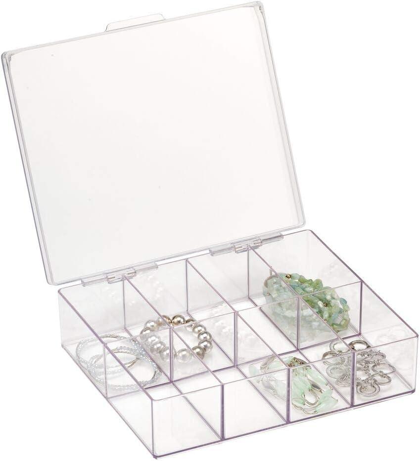 mDesign Organizador de joyas – Caja con compartimentos cuadrada – Caja clasificadora de plástico con 8 divisiones para pendientes, collares, pulseras y anillos – transparente