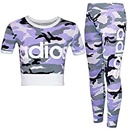 Kaaya Kids Girls Adios Camouflage Army Crop Top & Legging Co-Ord Set Age 7-13 Years (Adios Purple, 9-10 Years)