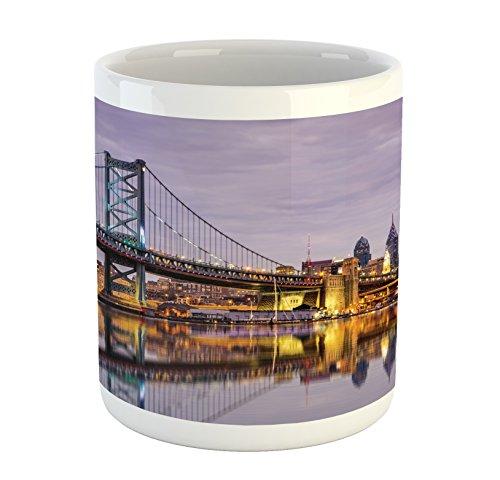 Lunarable USA Mug, Ben Franklin Bridge Philadelphia Skyline Setting Sun Reflections on Water, Printed Ceramic Coffee Mug Water Tea Drinks Cup, Lilac Orange Yellow