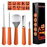 Epartswide Pumpkin Carving Kit 5 Piece Halloween Pumpkin Carving Tool Kit with 10 Carving Stencils DIY Halloween Jack-O-Lantern For Family Activity For Sale