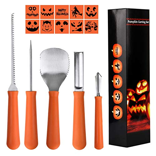 Epartswide Pumpkin Carving Kit 5 Piece Halloween Pumpkin Carving Tool Kit with 10 Carving Stencils DIY Halloween Jack-O-Lantern For Family Activity]()