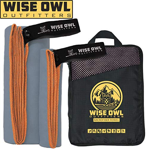 Wise Owl Outfitters Camping Towel - Ultra Soft Compact Quick Dry Microfiber Best Fitness Beach Hiking Yoga Travel Sports Backpacking & The Gym Fast Drying, Free Bonus Washcloth Hand Towel - LG Grey