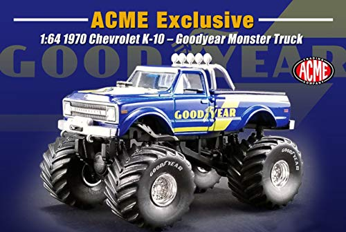 - Greenlight 1970 Chevrolet K-10 Goodyear Monster Truck Bigfoot Truck 1/64 Diecast Model Truck Acme Exclusive 51267