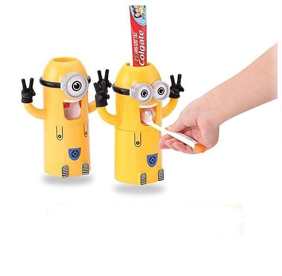 Soporte para cepillos de dientes taza de polvo dispensador de pasta de dientes automático 2pcs: Amazon.es: Hogar