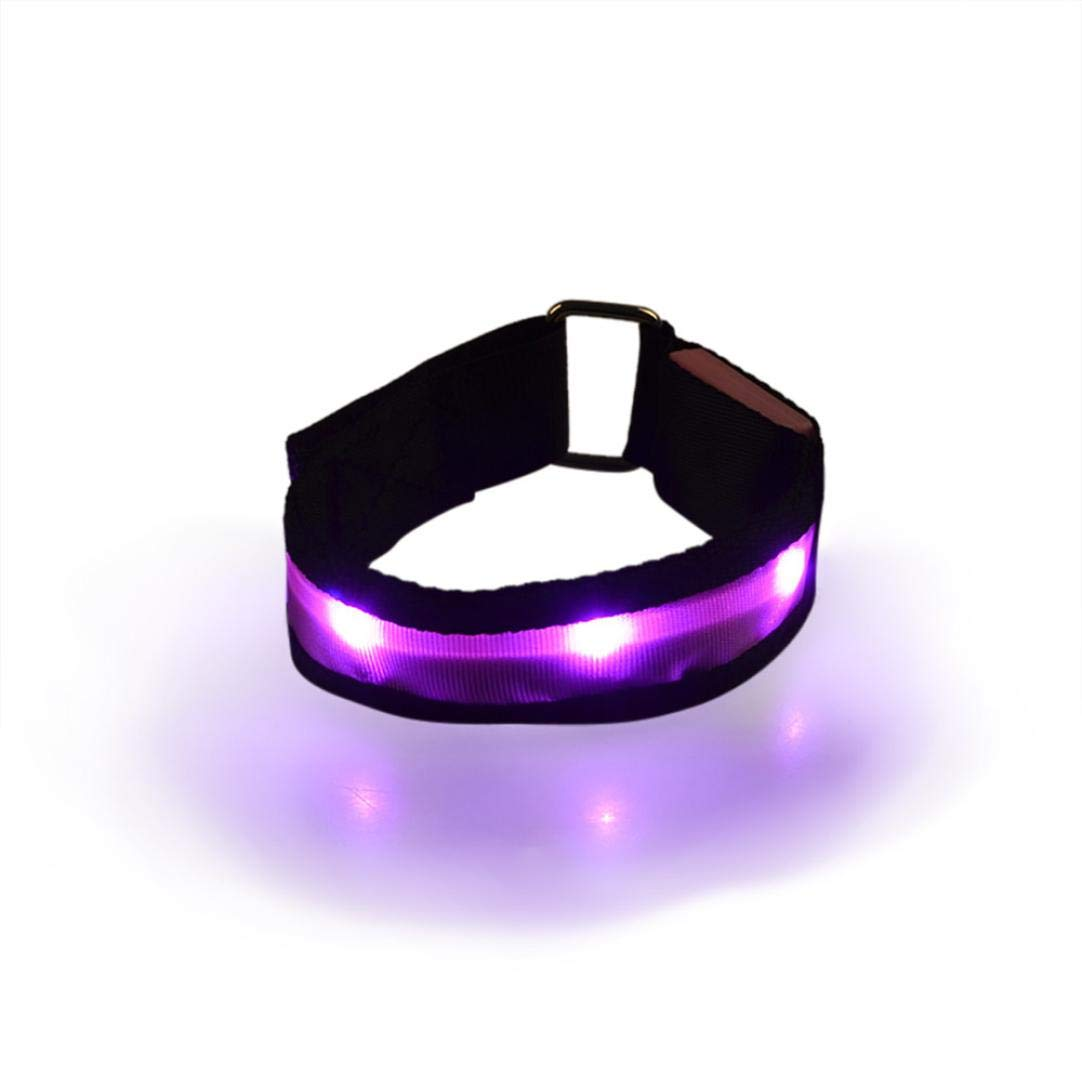 Glumes LED Armband, Glow in the Dark Led Slap Bracelets Event Wristband For Men& Women, Night Safety Lights For Running, Jogging, Cycling, Hiking (Pink)