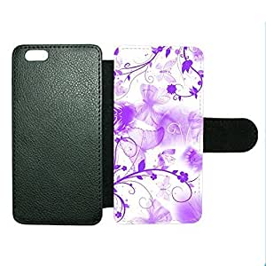 Case Fun Case Fun Purple Butterflies Faux Leather Wallet Case Cover for Apple iPhone 6 4.7 inch