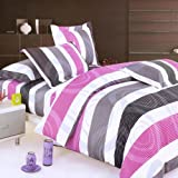 Blancho Bedding - [Pink Purple Swirls] 100% Cotton 3PC Duvet Cover Set (Twin Size)