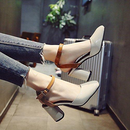Avec Eu38 Sandales Baotou High Épais Romain Femme Mesdames Crénelé Boucle Fashion heeled Chaussures Shoeshaoge YwqBpxS6