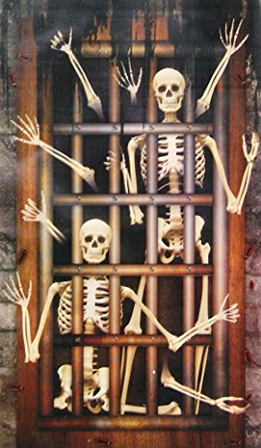 Spooky Halloween Decor Decorative Door or Wall Banner - 42x72 Inches (Skeleton Dungeon (Halloween Themed Door Decorations)