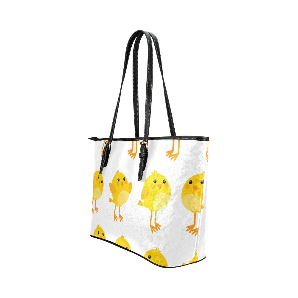 Baby Little Yellow Chichens Cute Animal Large Soft Leather Portable Top Handle Hand Totes Bags Causal Handbags With Zipper Shoulder Shopping Purse Luggage Organizer For Lady Girls Womens Work