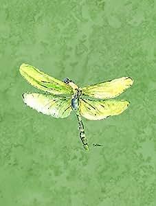 Caroline's Treasures 8864CHF Dragonfly on Avacado Flag Canvas, Large, Multicolor