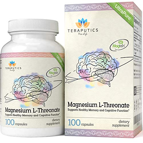 Magnesium L Threonate (Magtein) - 100 Capsules - 2,000 mg - Non-GMO UltraPure Highly Absorptive & Bioavailable Magnesium Supplement - Supports Cognition, Memory, Sleep - Without Laxative Properties