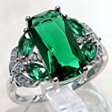 Luxurious 925 Silver Emerald Wedding Party Ring Fashion Women Jewelry Size 6-10 (10)