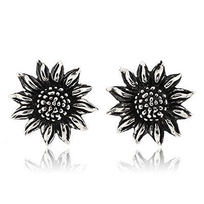 Sovats Sunflower Earring For Women 925 Sterling Silver Oxidizied Surface - Simple, Stylish Stud Earrings&Trendy Nickel Free Earring