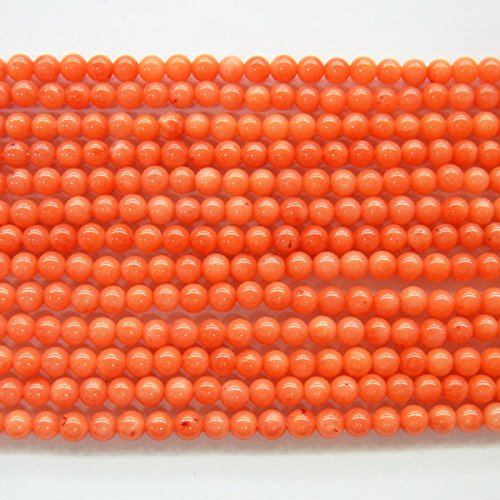 TheTasteJewelry 4mm Orange Coral Round Beads 15 inches 38cm Jewelry Making Necklace Healing (Round Orange Coral Earrings)