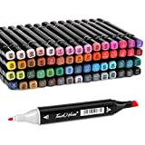 60 Colors Marker Pen Set, AGPtek Permanent Dual Tips Marker Pens Art Markers with Zipper Carrying Bag for Kids Adults Drawing, Sketching, Highlighting & Underlining