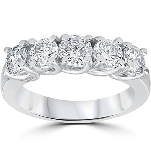 1 1/2ct Diamond Wedding Anniversary Band 14k White Gold Ring - Size 9