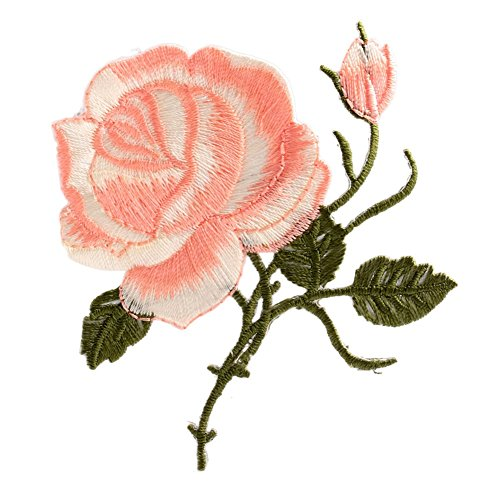 Mimgo Store Rose Flower Iron-On Embroidered Patch Applique Motif Garment Decoration Craft (3#) (Tacking Iron Iii)