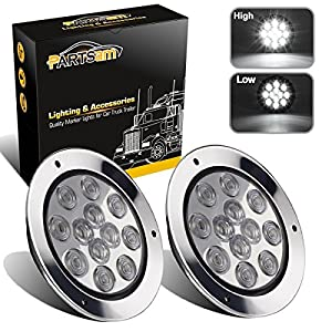 "Partsam 2PCS 12 Creed LED White 4"" Round Backup Reverse Lights Marker w/Stainless Rings Sealed"