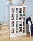 White CD/DVD/VHS Sliding Glass door Storage cabinet rack For Sale