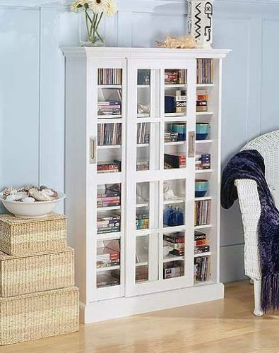 White Sliding Door Media Cabinet - White CD/DVD/VHS Sliding Glass door Storage cabinet rack