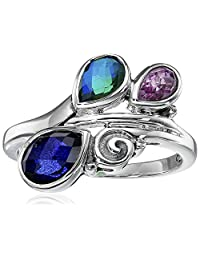 Sterling Silver Kunzite Caribbean and Sapphire Quartz Ring