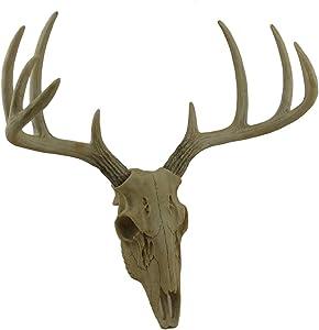 Zeckos Little Bucky Wall Mounted Faux Aged Finish 10 Point Antlers Deer Skull 15 Inch
