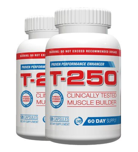 T 250 Muscle Building Supplement Fat Burner,120 Capsules, (Pack of 2) ()
