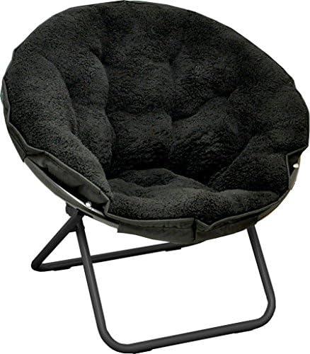 Urban Shop Sherpa Saucer Chair, Black