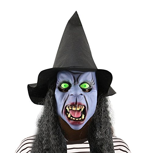 CycleMore Latex Creepy Scary Cosplay Halloween Toothy Witch Mask Emulsion Skin with Hat and Hair