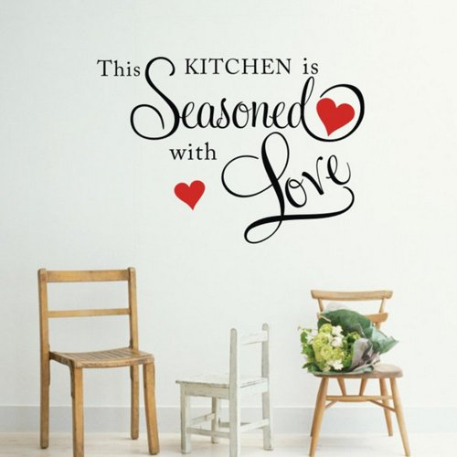 Decalgeek This Kitchen is Seasoned with Love Wall Quote Sticker (Quotes Wall Decorations)