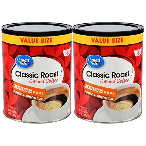 Great Value Classic Roast Ground Coffee, Medium Roasted, 48 oz (pack of 2)