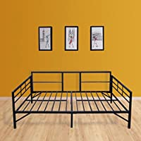 Best Price Mattress Easy Set-up Daybed /Sleeper Featuring Strong Frame, Sturdy and Durable Steel Slats, Twin, Black