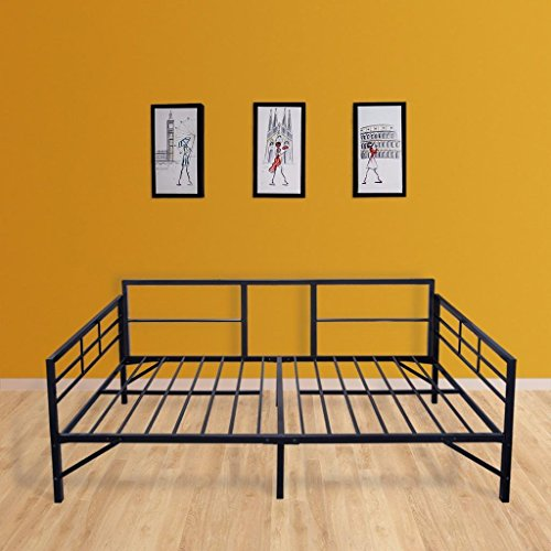Best Price Mattress Easy Set-up Daybed/Sleeper Featuring Strong Frame, Sturdy and Durable Steel Slats, Twin, Black by Best Price Mattress