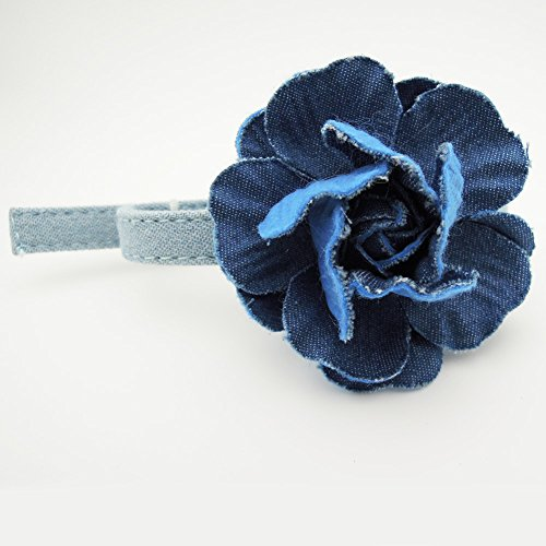 PETFAVORITES Denim Dog Cat Collar Bow Tie - Canvas Flower Kitten Necklace Jewelry - Chihuahua Yorkie Small Dog Clothes Costume Outfits Accessories, Adjustable Buckle & Handmade (Deep Denim Flower)