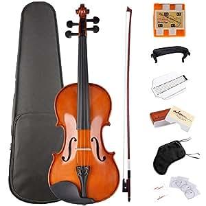 ADM Full Size Violin 4 4 Solidwood Ebony Pegs Violin Beginner Student Advanced Kit with Violin Hard Case, Ebony Frog Violin Bow and Rosin, etc