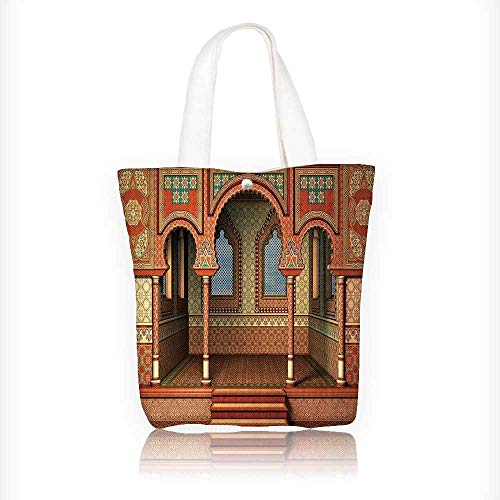 Ladies canvas tote bag Middle East Oriental Inner Palace Islamic Architecture Vintage reusable shopping bag zipper handbag Print Design W16.5xH14xD7 INCH by Jiahonghome