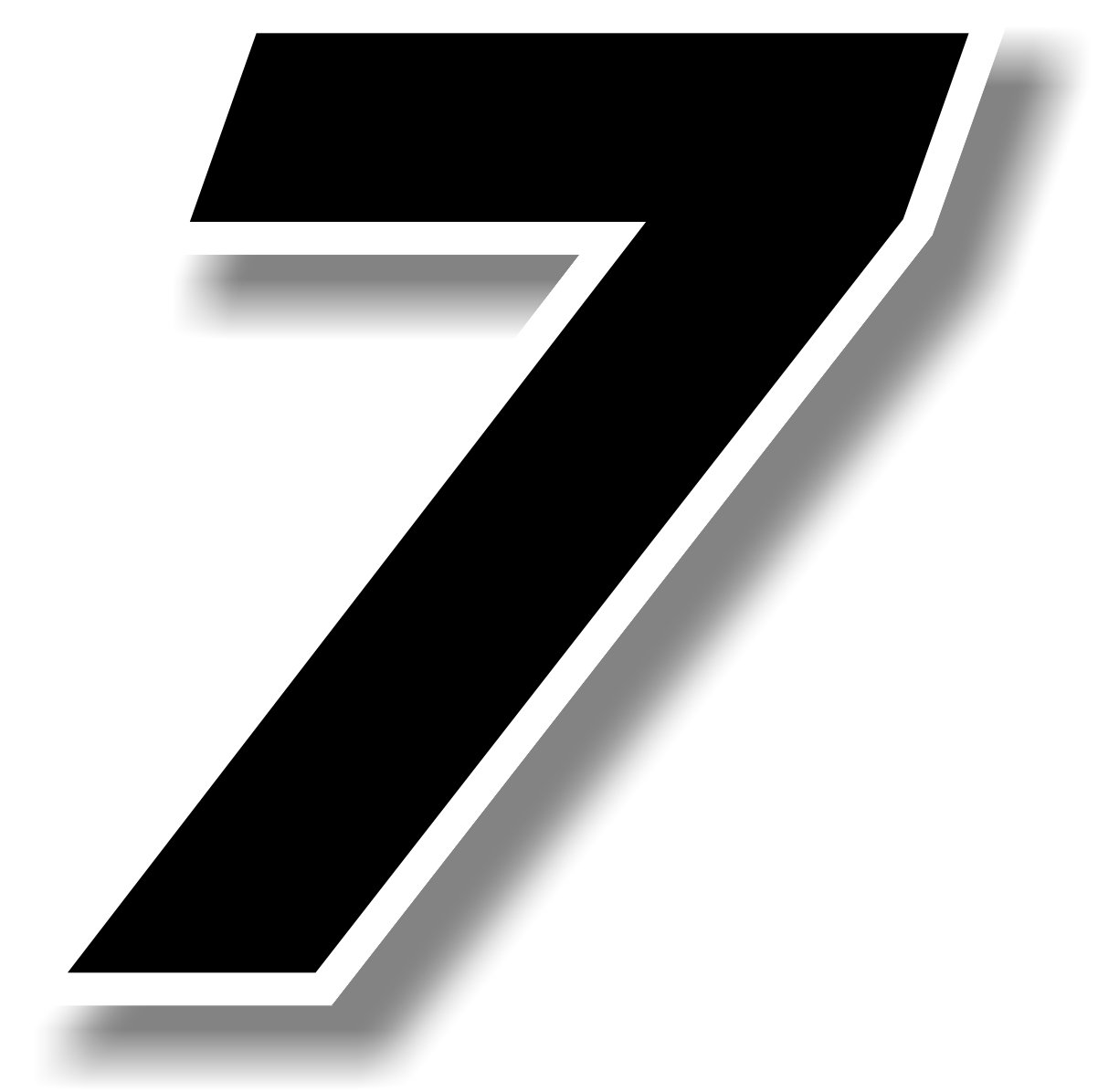 race number 9 square font Graphic Effects Vinyl sticker//decal White Height: 4 inches Black outline