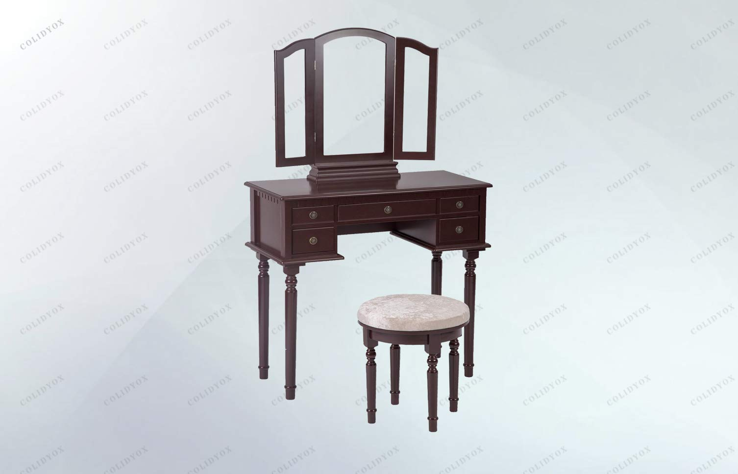 COLIDYOX>>>Cherry Makeup Vanity Table Stylish Vanity Table Comes with a tri-Folding Mirror That can Help You View Your face or Hair from Multiple Angles Wood Construction with an Elegant