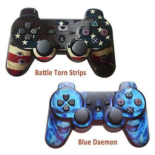2pcs Skin Stickers for Playstation 3 Controller - Vinyl Leather Texture Sticker for DualShock 3 - Protectors Decal Wireless Game Controllers - Battle Torn Strip&Blue Daemon [ Controller Not Included ]