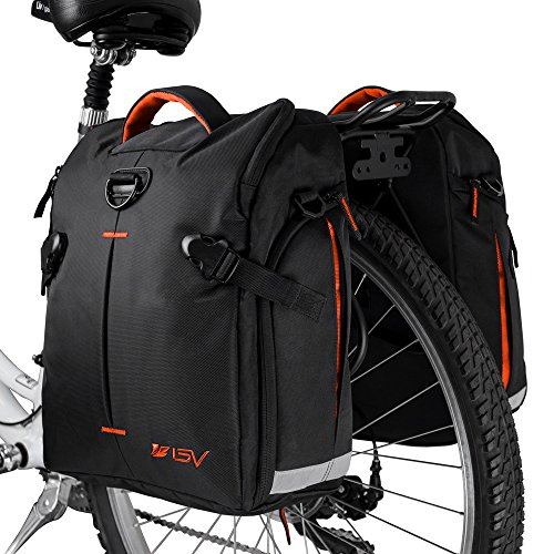 s (Pair), Large Capacity, 14 L (each pannier), Black with Detachable Shoulder Straps and All Weather Rain Covers (Orange) ()