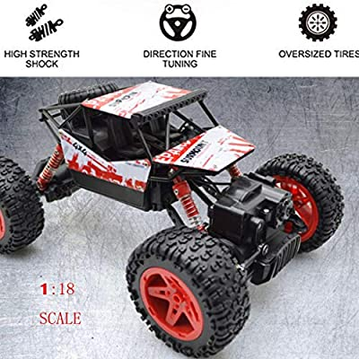 AMOFINY Baby Toys Bigfoot Drift Four-Wheel Drive Off-Road Climbing Car Rc Car High-Speed Off Road 2.4 Ghz 4Wd Remote Control 1/18 Rc Trucks for Kids