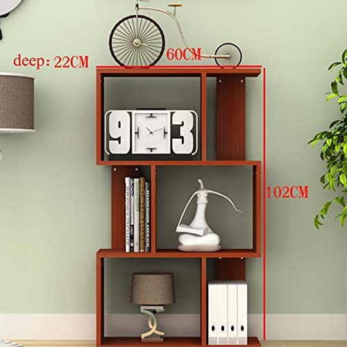 Wooden 3/4/5 Tier S Shape Bookshelf Bookcase Stand Storage Display Unit Home Cabinet Divider Black (Size : C) (Teak Bookcase Cabinet)